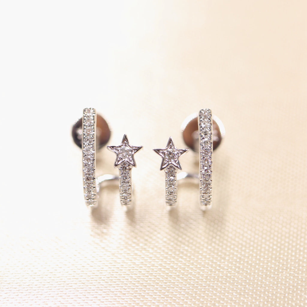 14K White Gold Diamond Shooting Star Earring - Ice Motif
