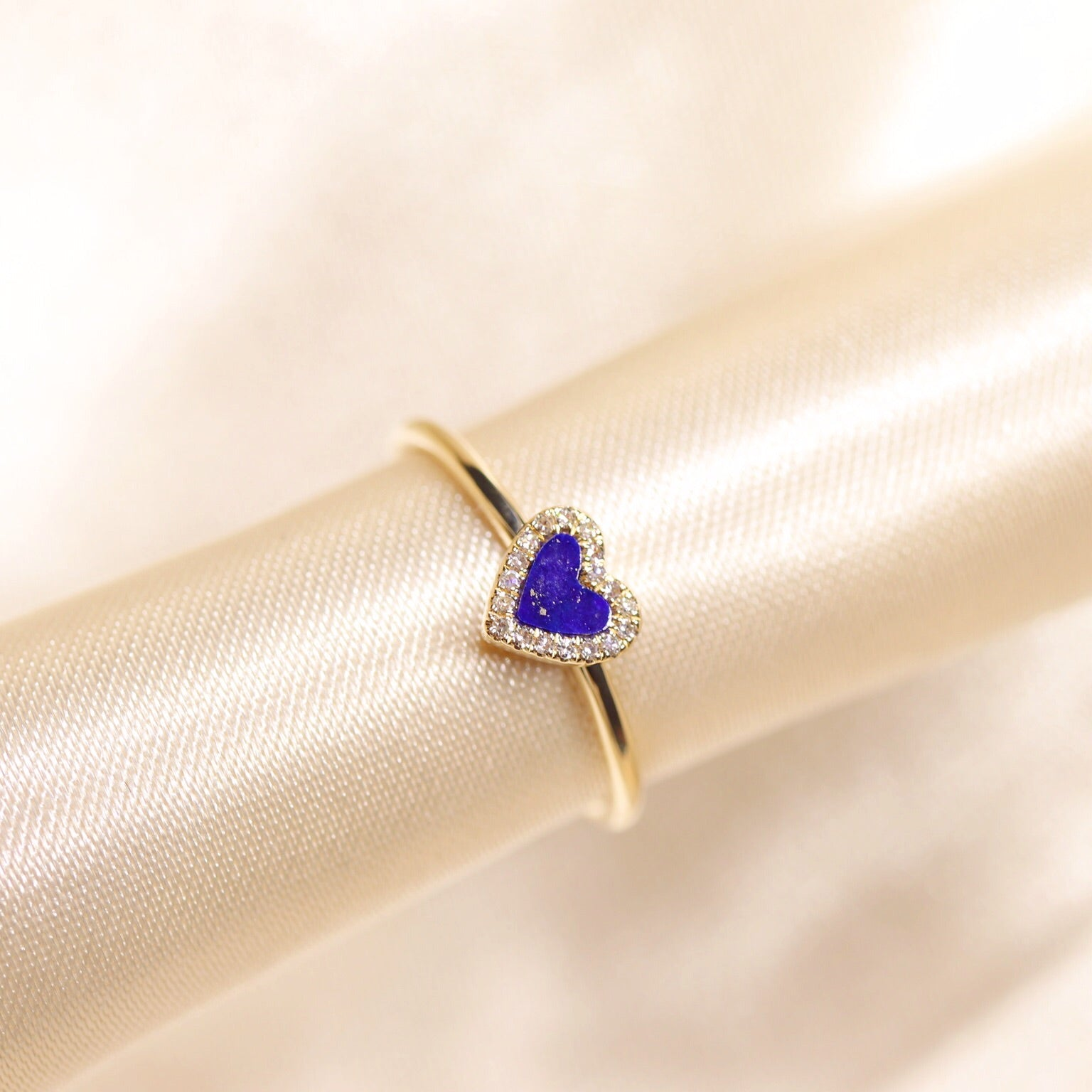 14K Yellow Gold Heart Shape Lapis Lazuli  Diamond Ring - Ice Motif