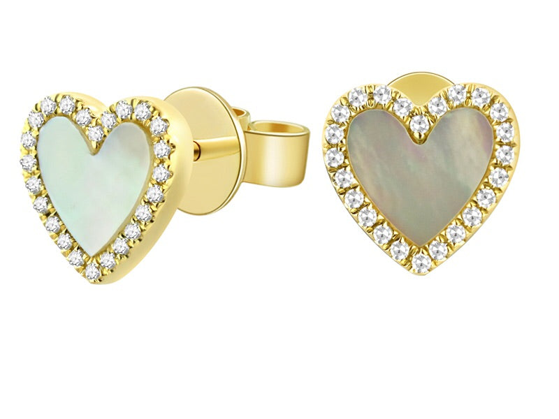 14K Yellow Gold Heart Shape Mother of Pearl & Diamond Studs - Ice Motif