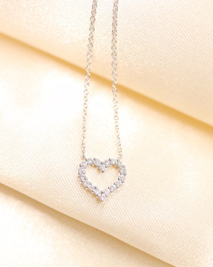 14K Gold Diamond Love Heart Necklace - Ice Motif