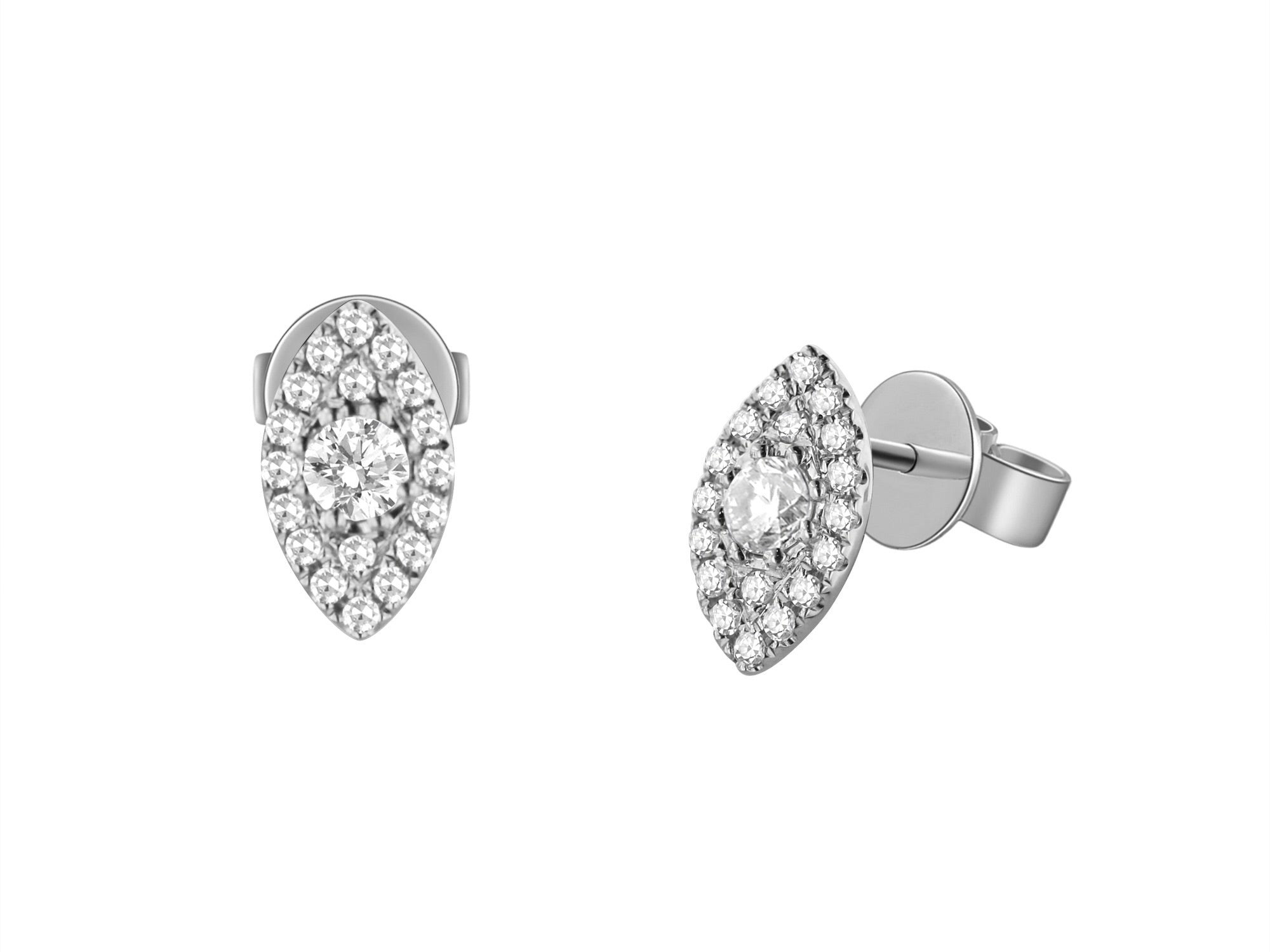 14K Gold Marquise Shape Diamond Studs - Ice Motif