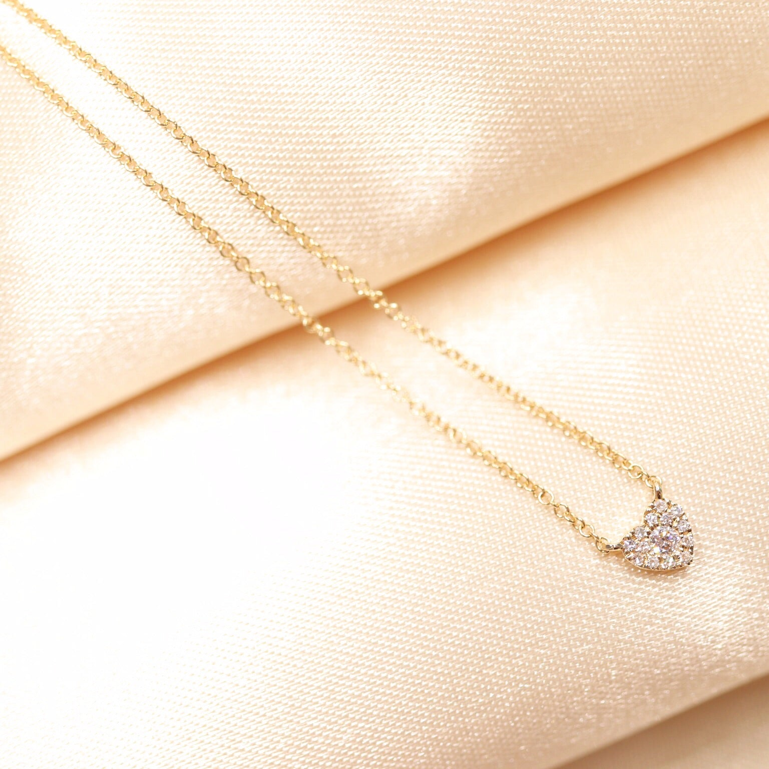 14K Gold One Love Heart Shaped Diamond Necklace - Ice Motif