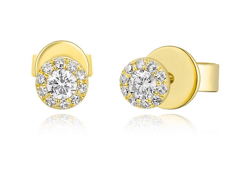 14K Gold Classic Diamond Halo Studs - Ice Motif