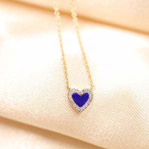 14K Gold Heart Shape Lapis Lazuli & Diamond Necklace - Ice Motif