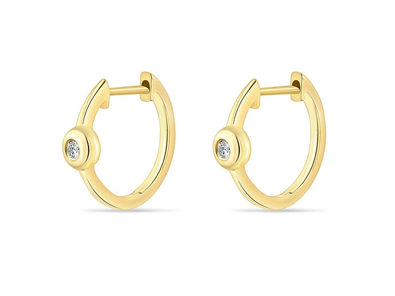14K Yellow Gold  Single Bezel Set Diamond Huggie - Ice Motif