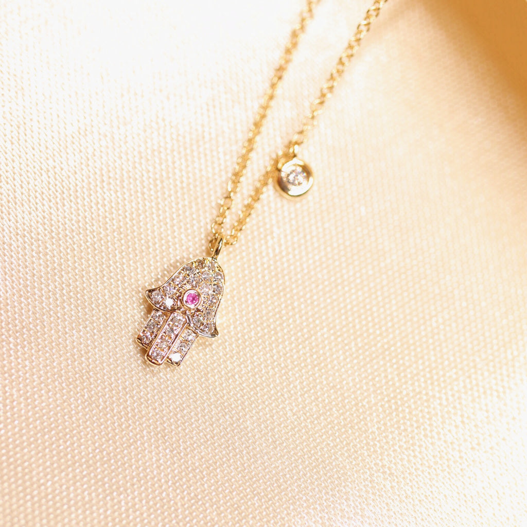 14K Gold Diamond & Color Precious Gemstone Hamsa Necklace - Ice Motif