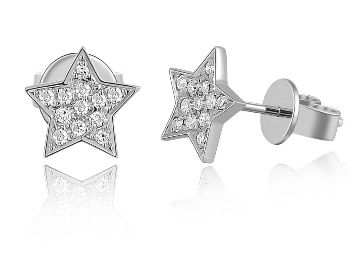 14K Gold Star Pave Diamond Studs - Ice Motif