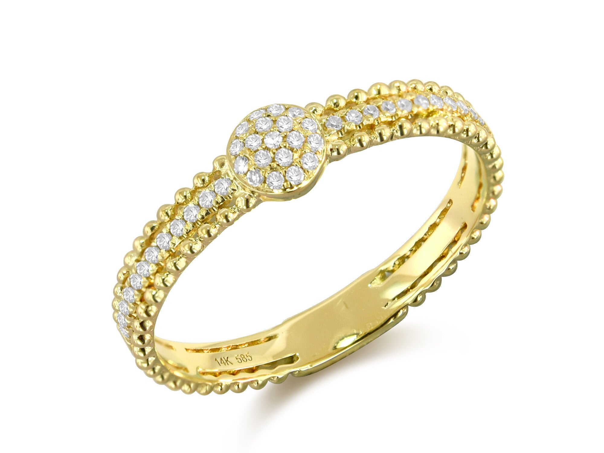 14K Yellow Gold Pave Diamond Lace Ring - Ice Motif