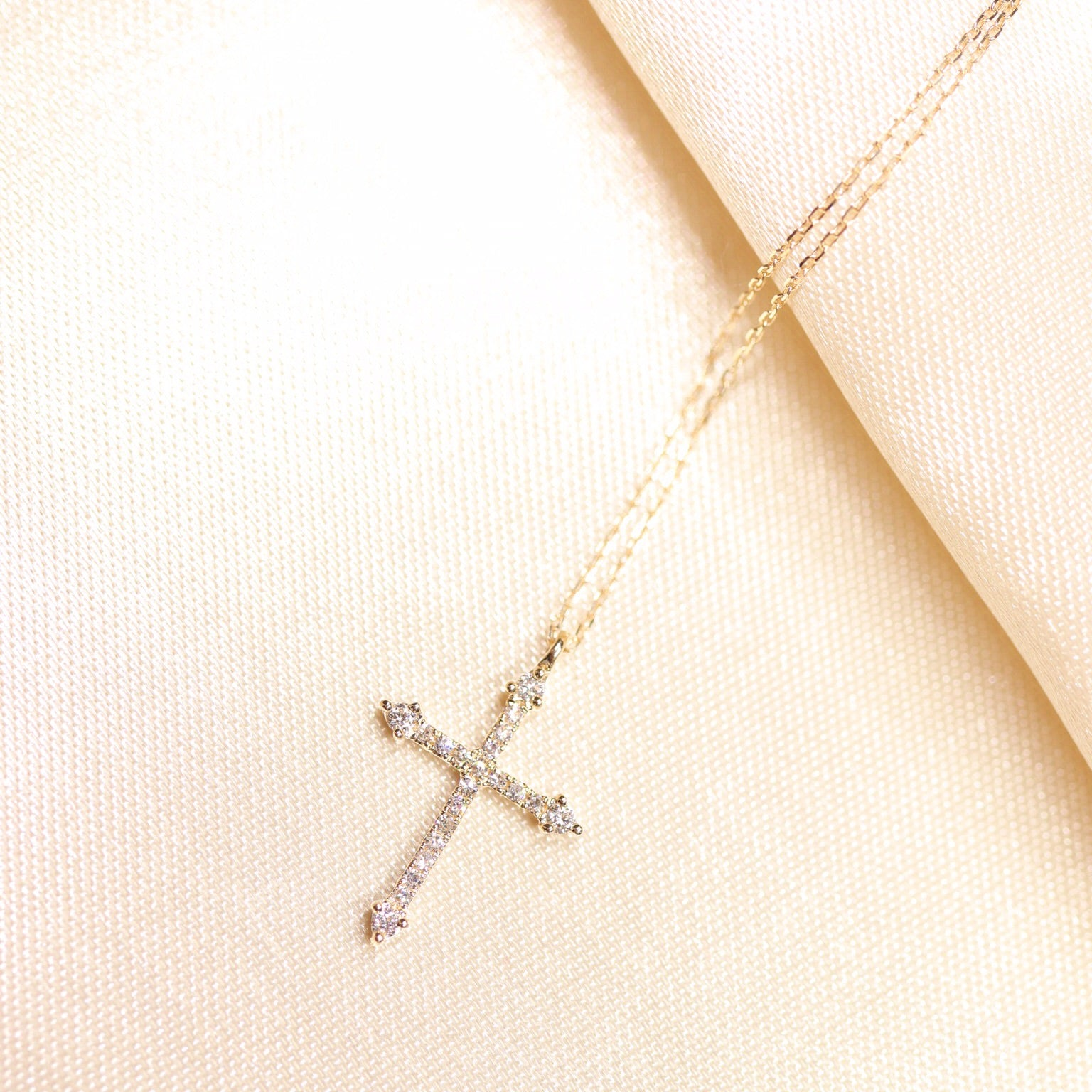 14K Gold Diamond Cross Necklace - Ice Motif