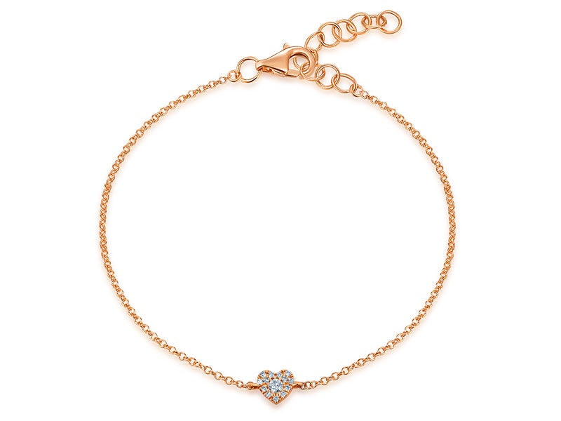 14K Gold Heart Shape One Love Diamond Bracelet - Ice Motif