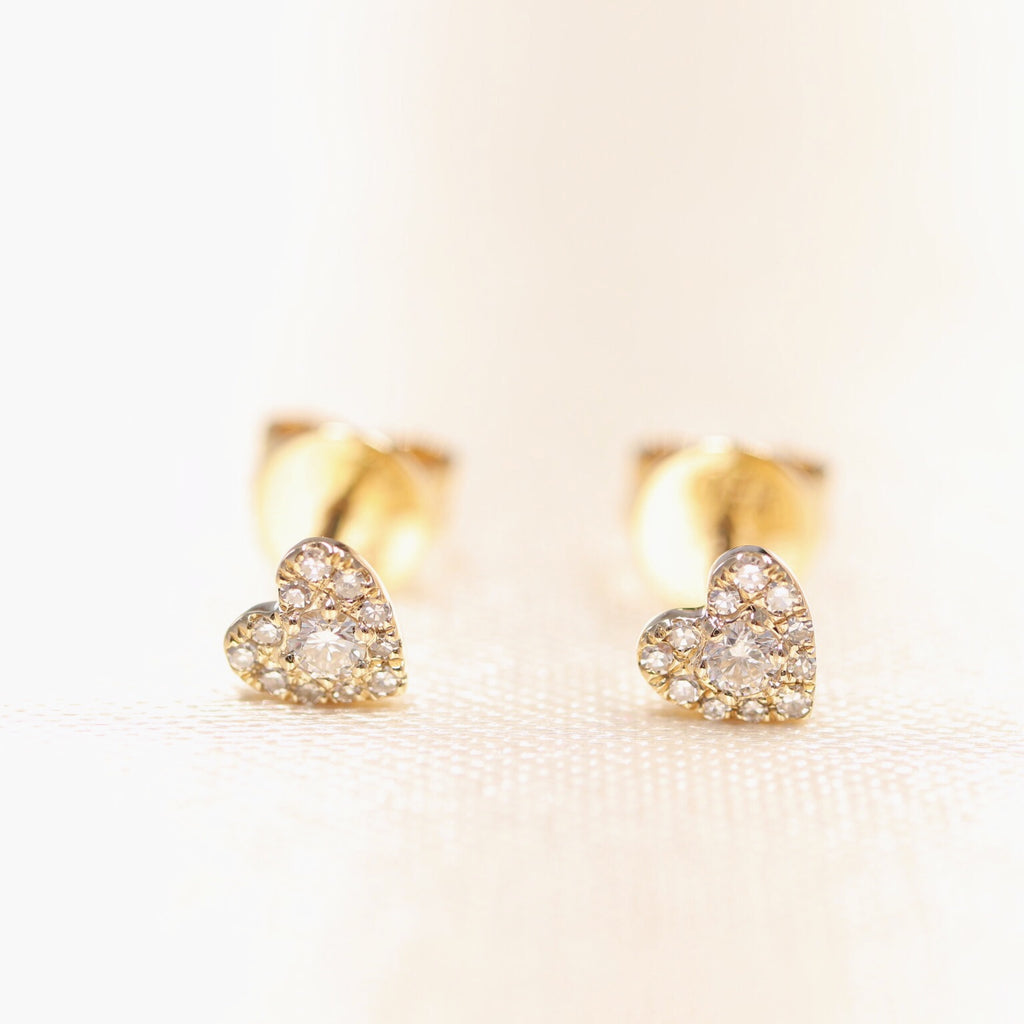 14K White Gold One Love Heart Shape Diamond Studs - Ice Motif