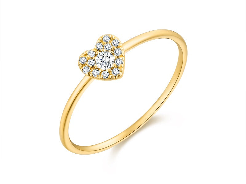 14K Gold One Love Heart Shape Diamond Ring - Ice Motif