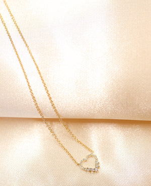 14K Gold Heart Shape Diamond Necklace - Ice Motif