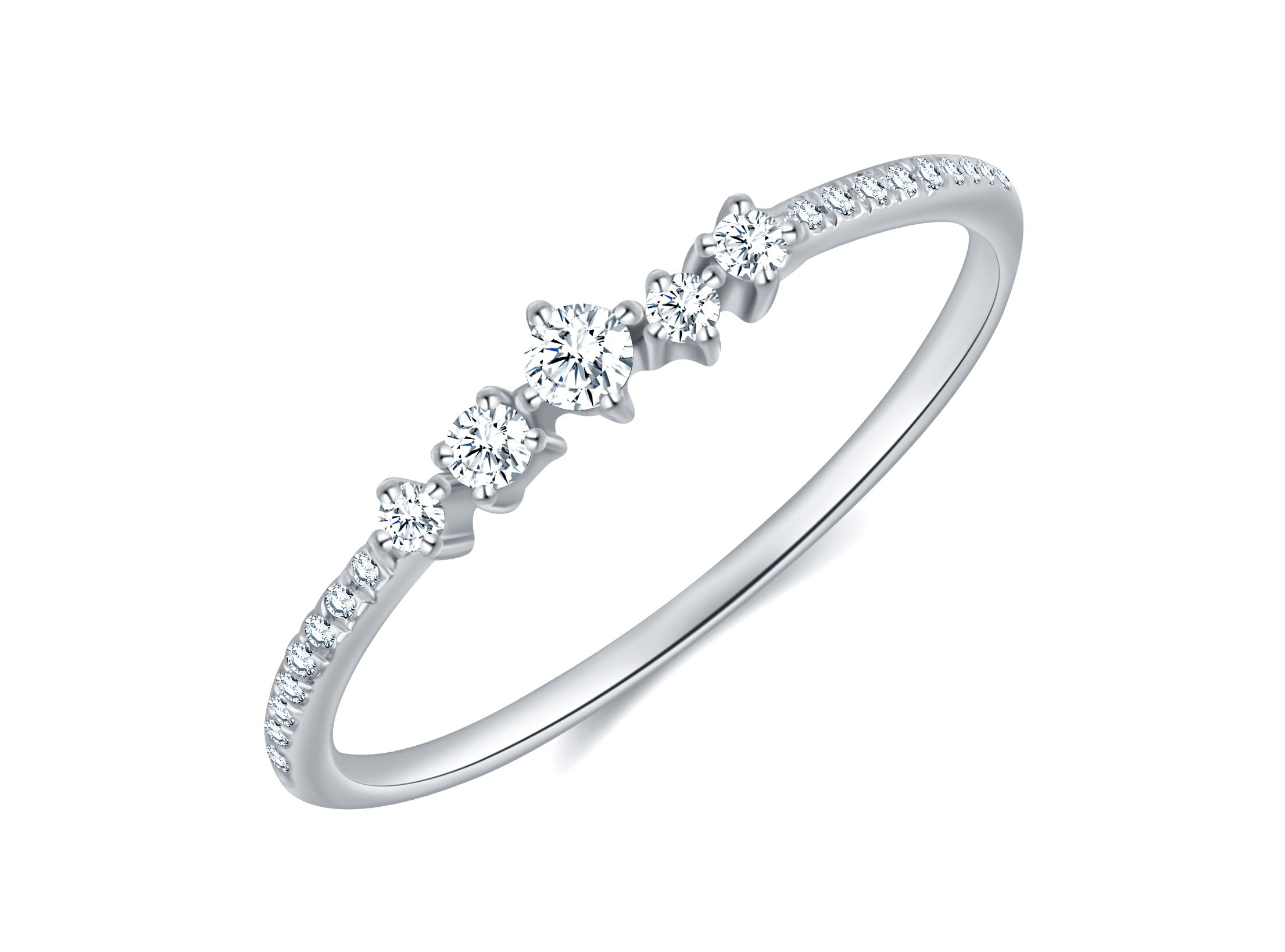 14K White Gold Diamond Stacking Band - Ice Motif