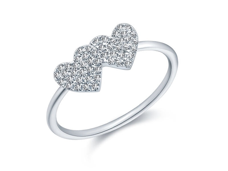 14K White Gold Double Heart Pave Diamond Ring - Ice Motif