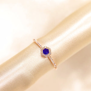 14K Rose Gold Hexagon Shape Lapis Lazuli Diamond Ring - Ice Motif