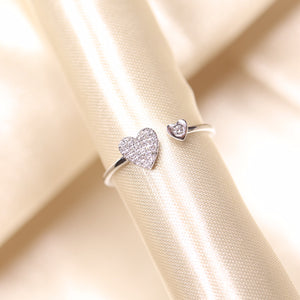 14K Gold You & Me Heart Pave Diamond Open Ring - Ice Motif