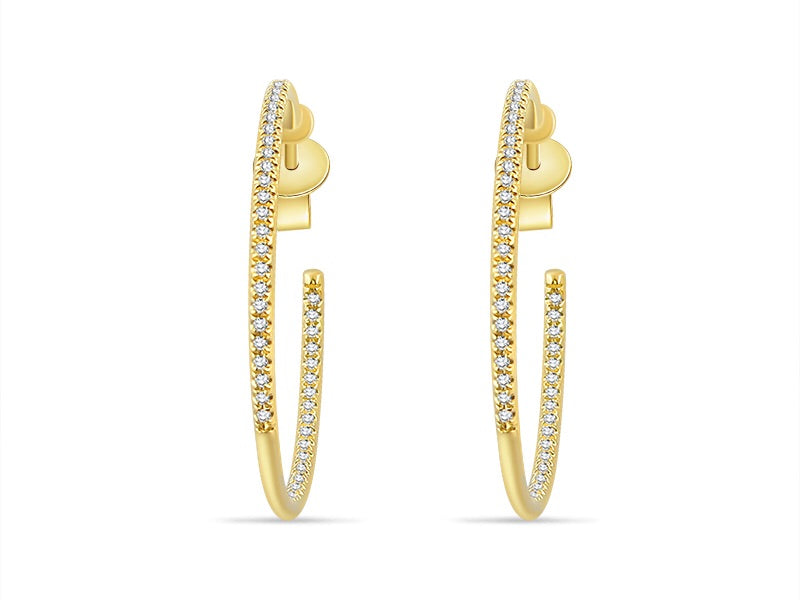 "14K Yellow Gold Front & Back Diamond Hoops 1"" - Ice Motif"
