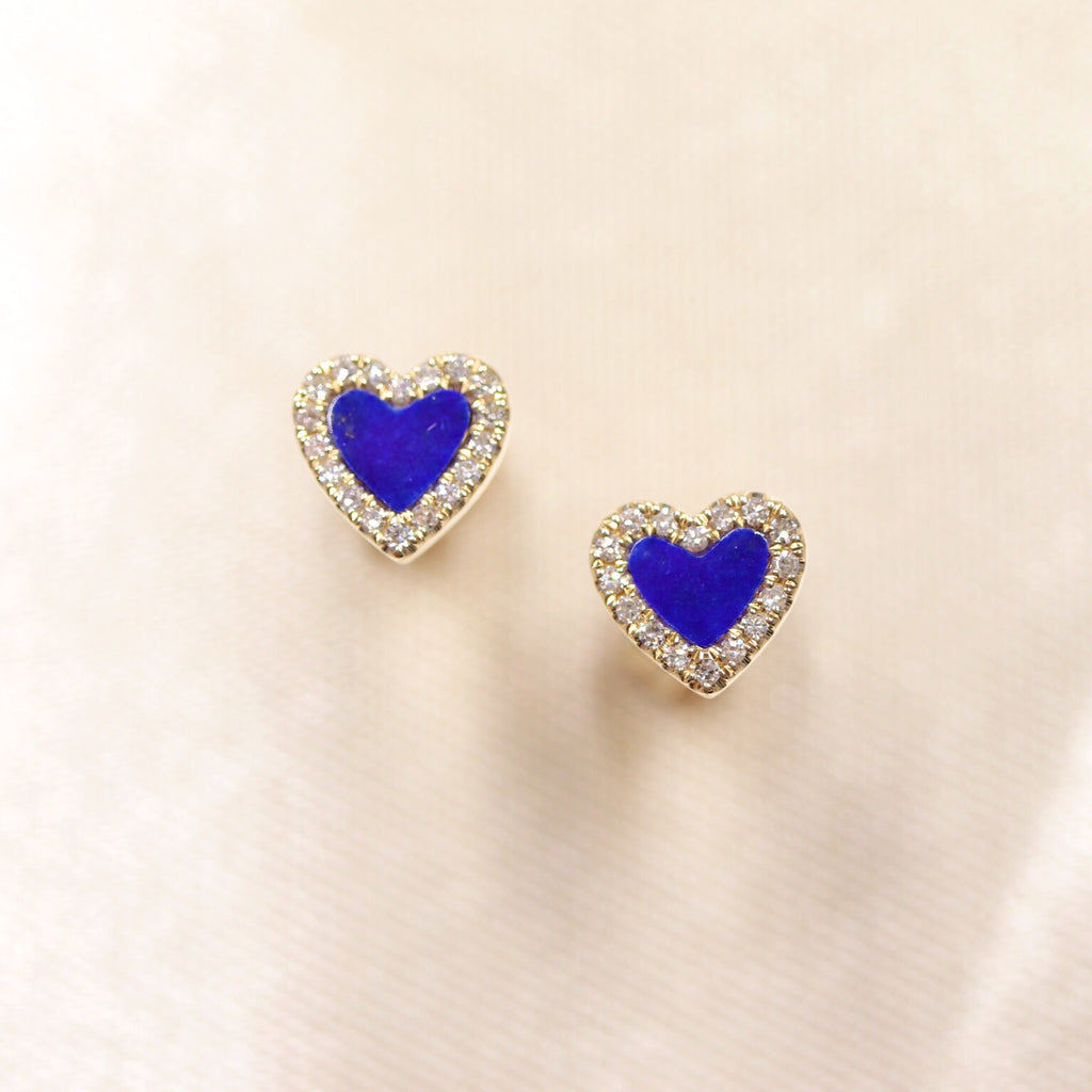 14K Yellow Gold Heart Shape Lapis Lazuli & Diamond Studs - Ice Motif