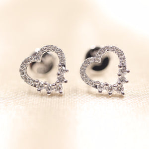 14K White Gold Heart Shape Diamond Studs - Ice Motif