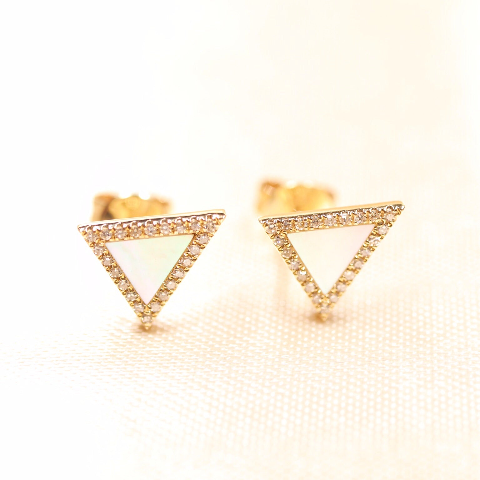 14K Yellow Gold Triangle Mother of Pearl Diamond Studs - Ice Motif