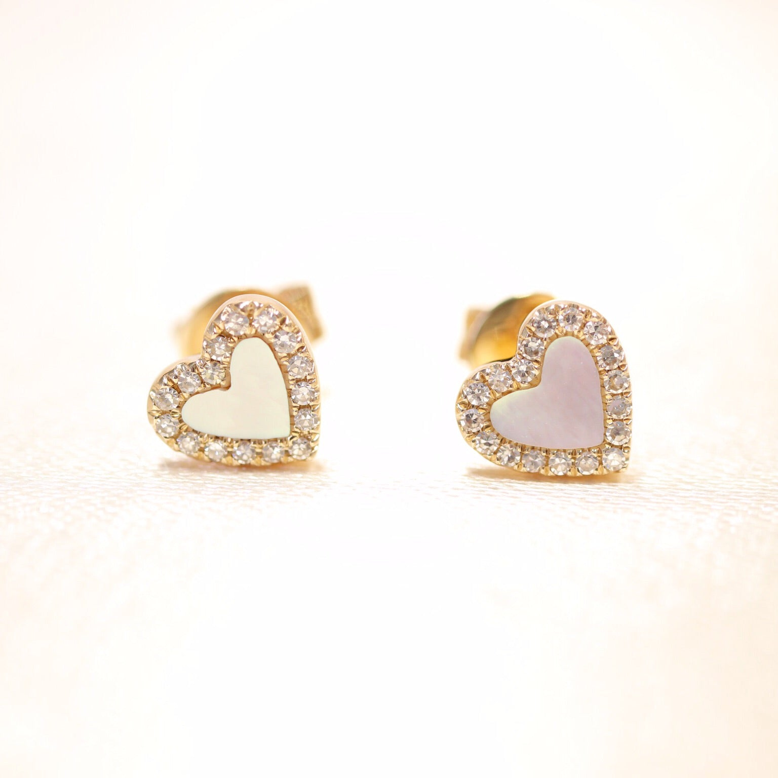 14K Gold Heart Shape Mother of Pearl & Diamond Studs - Ice Motif