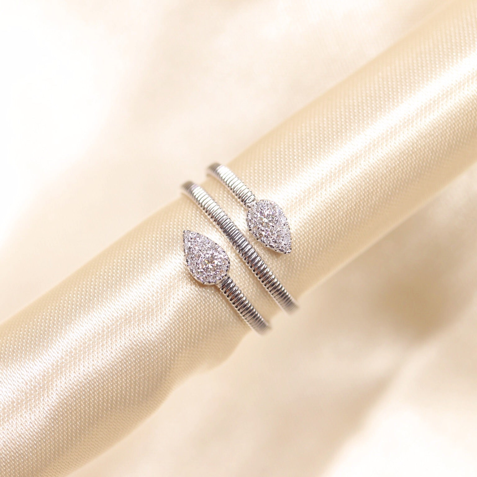 14K Gold Spiral Pave Diamond Ring - Ice Motif