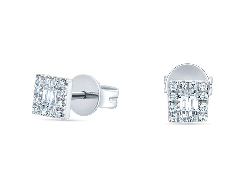 14K White Gold Double Baguette & Round Diamond Studs - Ice Motif