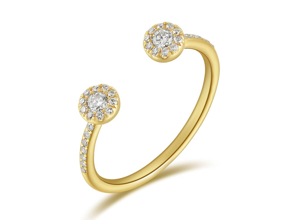14K Gold Halo Diamond Open Ring - Ice Motif