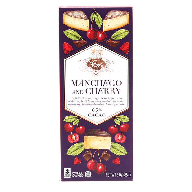 manchego and cherry dark choocolate bar