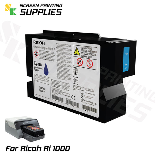 Cyan ตลับหมึก ริโก้ Ri 1000 Ricoh Ri 1000 (200ml) Cartridges - SK Screen Printing Supplies