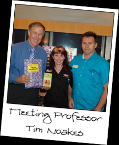 Tim Noakes, Founder of the Banting Diet in South Africa, with the Owners of Caring Candies