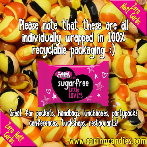 Bulk 1kg assorted citrus flavoured flavoured sugar free, dairy free, gluten free, allergen free, carb free sweets with natural colourants.  Suitable for Vegans, Vegetarians, Diabetics, and those following a Low Carb, Banting, Keto, Kosher or Halaal diet. Pineapple and Orange, Banana, and Passion Fruit Granadilla flavors