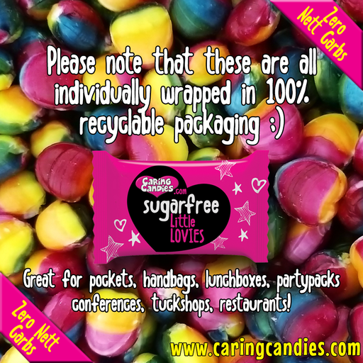Rainbow coloured colored Little Lovies. Buy Purchase Sugarfree Sugarless Sweets Cape Town South Africa. Wholesalers Retailers Pricing. Caring Candies. Candy, Candies. Suitable for Vegans, Vegetarians. Diabetics, Diabetes, ADD, ADHD, Banting, low carb, Candida. Kosher. Halaal. Individually wrapped. Gluten-Free. Dairy-Free. Without Gluten. Without Sugar. Without Dairy. Non-Dairy, Dairy-Free, Gluten-Free