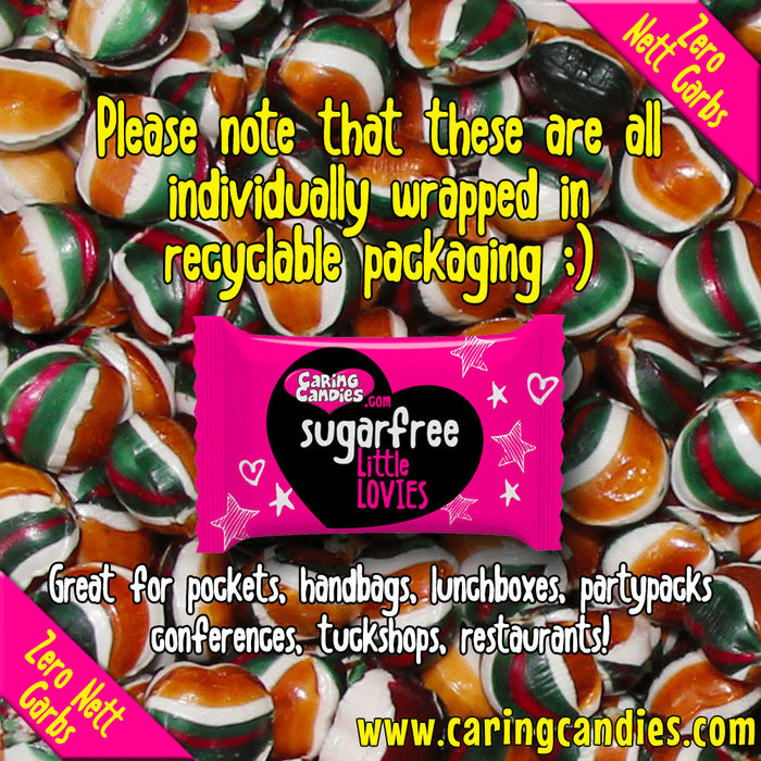 Caring Candies Bulk Saving: 1kg Sugar free TOFFEE MINT Little Lovies Sweets - Caring Candies Online South Africa - 1kg Little Lovies Catering Packs, Certified Halaal, Certified Kosher, Dairy