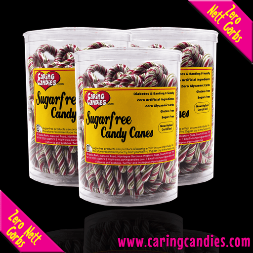 Caring Candies Tub: Sugar free CHRISTMAS Candy Canes (90 units) - Caring Candies Online South Africa - Certified Halaal, Certified Kosher, Dairy Free, Gluten Free, Lollipop Tubs, Suitable for