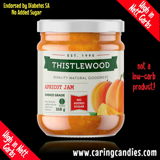 Buy best Diabetic Jam: Apricot 310g by Thistlewood | Caring Candies | Dairyfree, Glutenfree, Halaal, Jam, Kosher, No Added Sugars, Suitable for Diabetics, Vegan