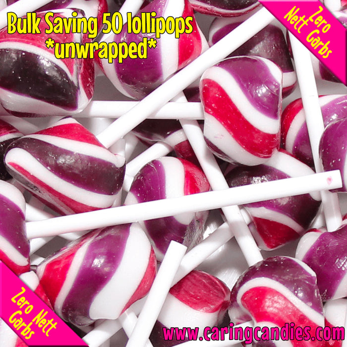 Caring Candies Bulk Saving: 50xSugar free BLACKCURRANT Doc's Pops Lollipops - Caring Candies Online South Africa - 50xDocs Pops Lollipops, Certified Halaal, Certified Kosher, Dairy Free, Glut