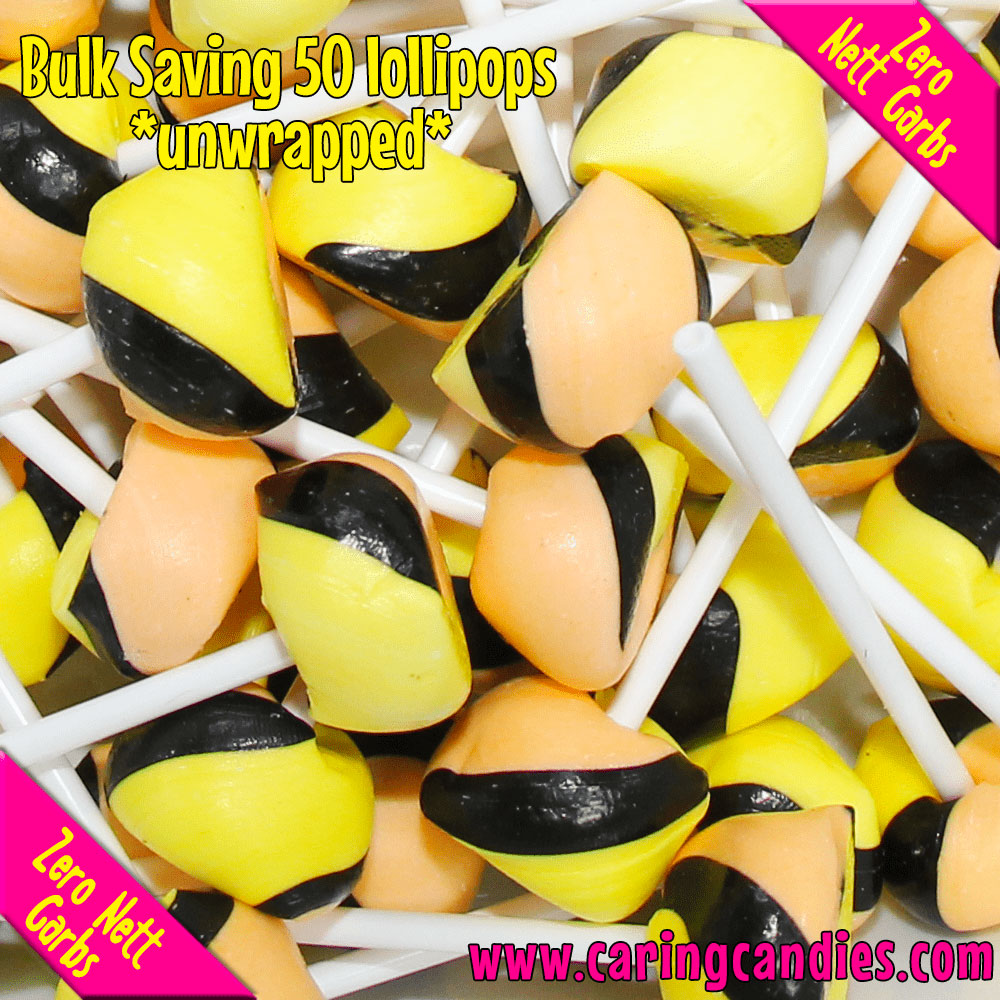 Caring Candies Bulk Saving: 50xSugar free PASSION FRUIT Doc's Pops Lollipops - Caring Candies Online South Africa - 50xDocs Pops Lollipops, Certified Halaal, Certified Kosher, Dairy Free, Glu