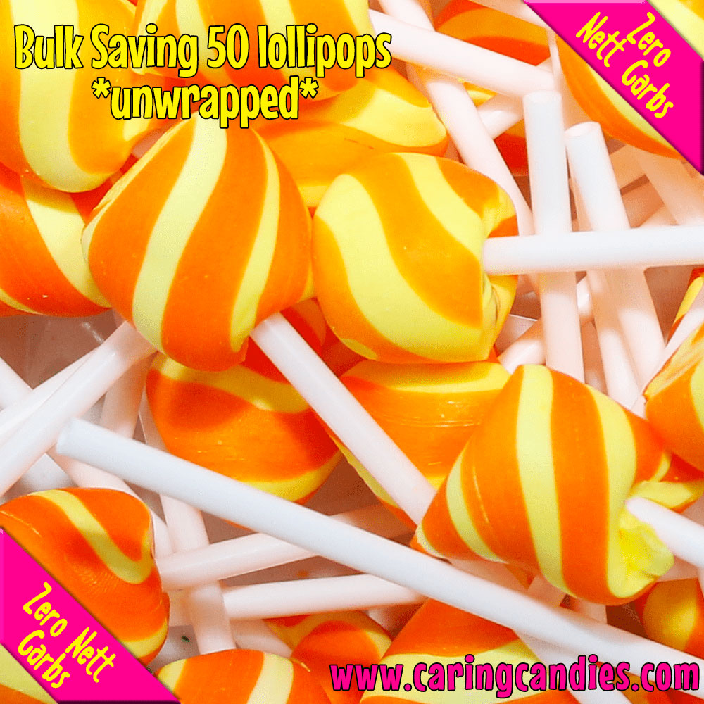 Caring Candies Bulk Saving: 50xSugar free PINE-ORANGE Doc's Pops Lollipops - Caring Candies Online South Africa - 50xDocs Pops Lollipops, Certified Halaal, Certified Kosher, Dairy Free, Glute