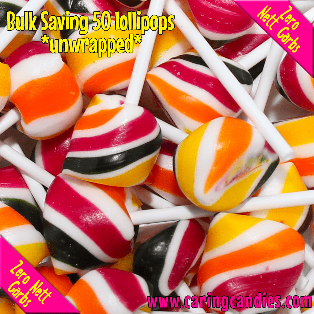 Buy best Bulk Saving: 50xSugar free TUTTI FRUITI Doc's Pops Lollipops by Caring Candies | Caring Candies  - 50xDocspops, Banting, Candida, Dairyfree, Glutenfree, Halaal, Keto, Kosher, Lollipo