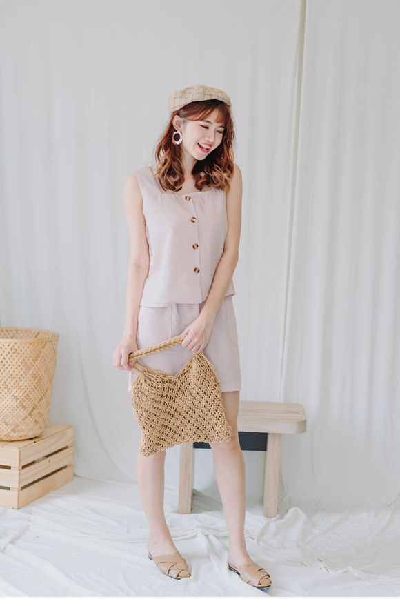 Linen Two Piece Set In Pink