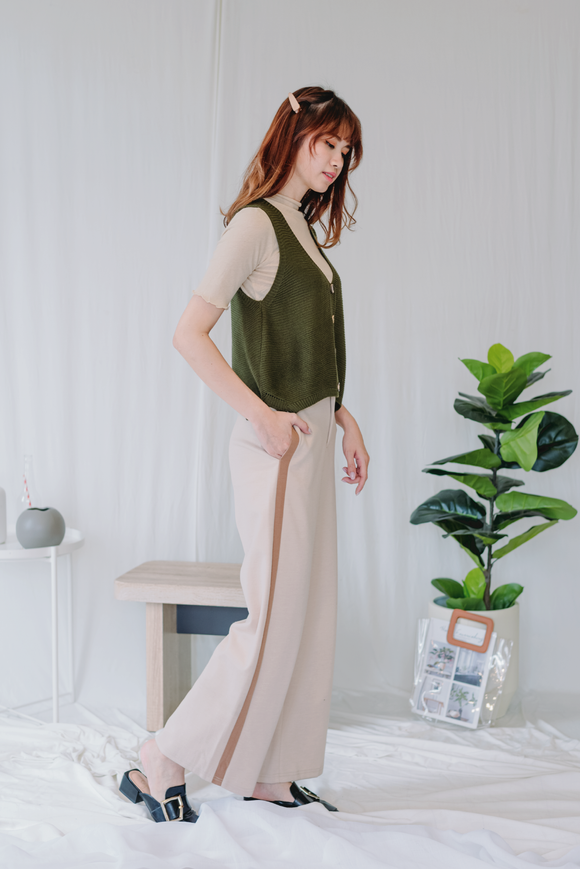 Amelia Wide Leg Long Pants in Beige