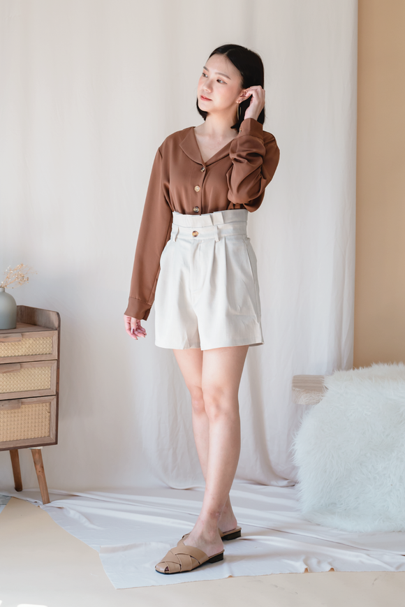 Pervobs High Waist Short In Beige