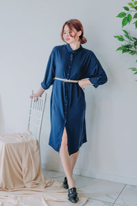 Navy Long Sleeve Shirt Dress