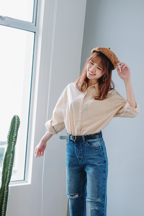Louise Oversized Button Collar Top