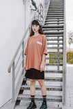 Side Word Oversize T-Shirt In Brown