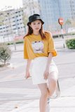 Tee On Tee Printed Oversize T-Shirt In Yellow