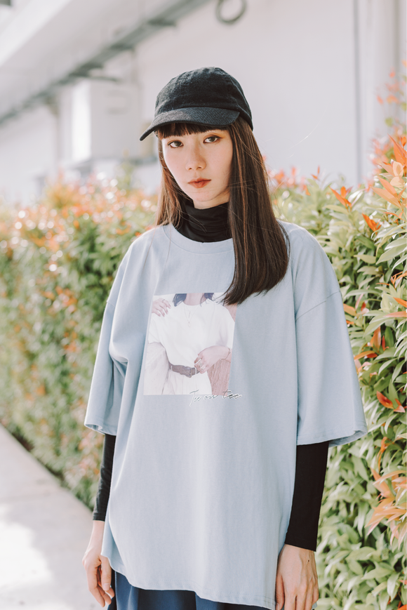 Tee On Tee Printed Oversize T-Shirt In Blue