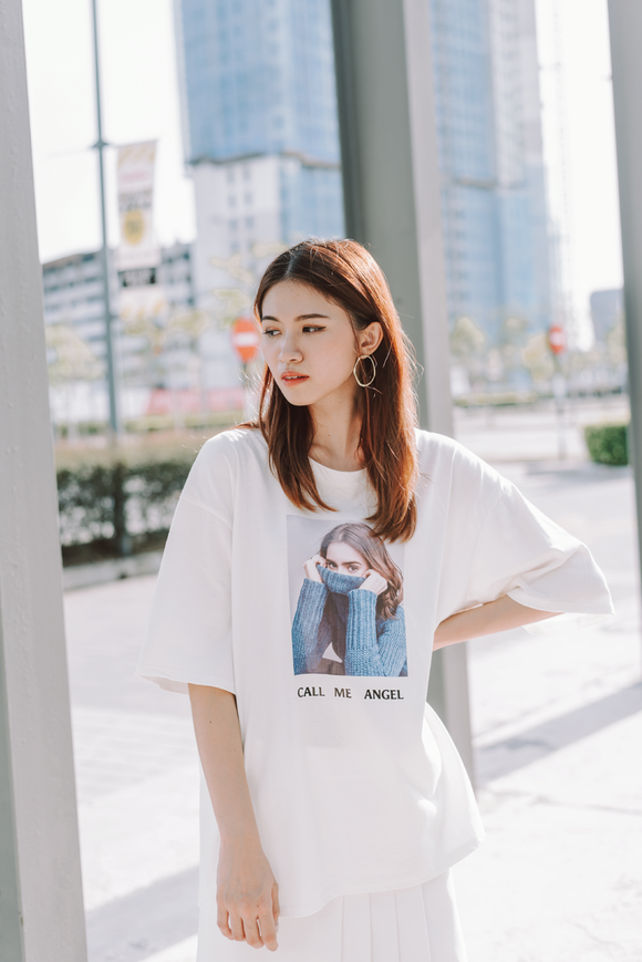 Call Me Angel Printed Word Oversize T-Shirt In White